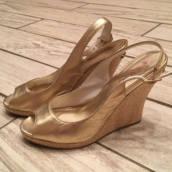 296259a9dae Lilly Pulitzer Kristin Metallic Gold Wedges